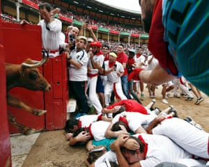 Pamplona, Spain A bull enters the ring