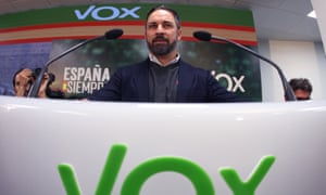 President of Vox party Santiago Abascal addresses a press conference after the meeting of Vox's national executive committee to analyze the election results in Madrid, Spain, on 11 November.