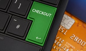 Checkout key with a credit card