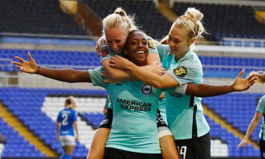 Danielle Carter celebrates after scoring for Brighton in a 5-0 win over Birmingham.