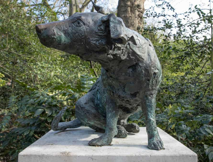 'A poignant reminder that animal testing continues to this day' ... Brown Dog (H46cm;plinth: H138 x W48 x D48cm) by Nicola Hicks.