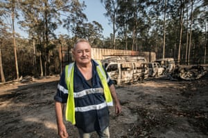 Col Meredith stands on his neighbours property on Spicers, Rainbow Flat, NSW that was burnt down on the evening of the 8 November. 13 November 2019.