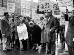 Nuclear Tax Protest - 1960 Playwright Arnold Wesker holding a declaration to be delivered to the Treasury re a 'nuclear tax' refusal. 21 signatories from well known people have been gathered to declare that they intend to withold a proportion of income tax equivalent to the amount spent by the Government on nuclear defence