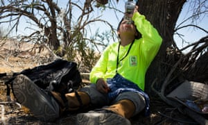 Taking a break: volunteer Juan Carlos Genis, 14, rehydrates in the Cabeza Prieta wilderness, after hiking six miles in temperatures over 95F.