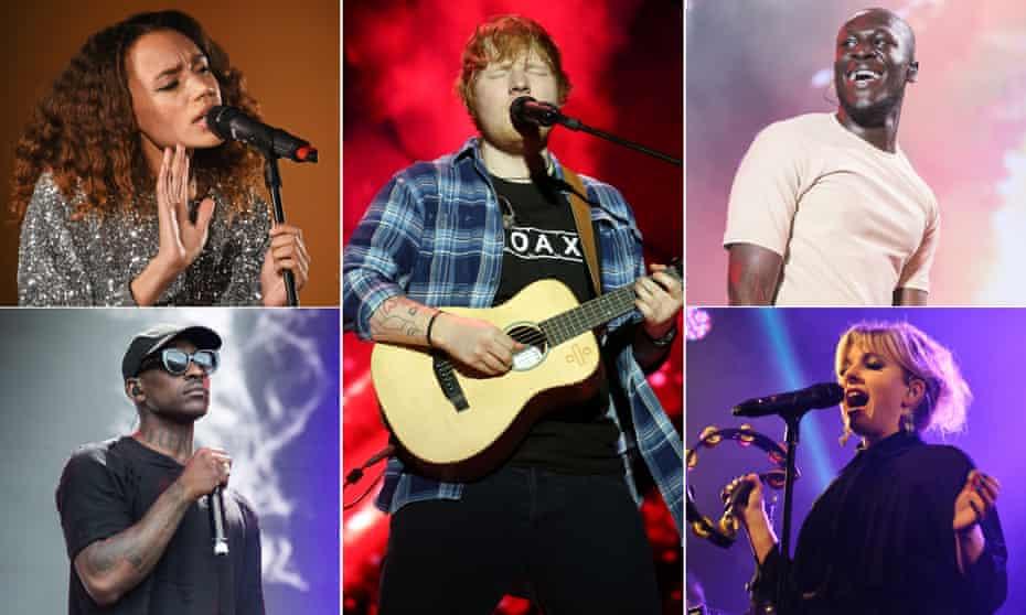 Clockwise from top left, streaming winners Jones, Ed Sheeran, Stormzy, Little Boots and Skepta.