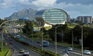 The space-age looking headquarters of the Mauritius Commercial Bank, close to Ebène Cybercity.