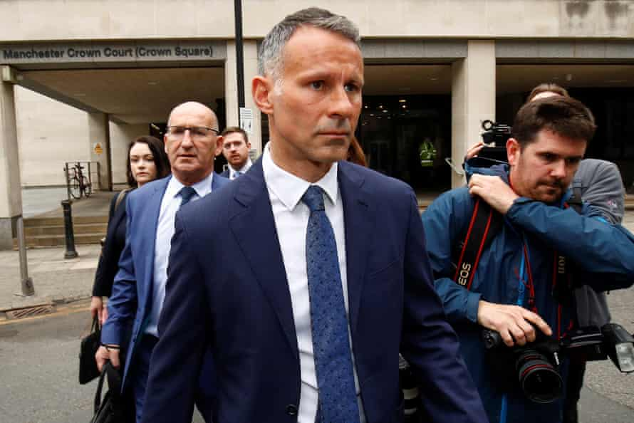 Giggs leaves Manchester crown court on Friday.