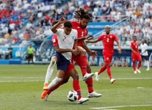 In the 20th minute, England's Jesse Lingard is bundled to the ground. Penalty to England.