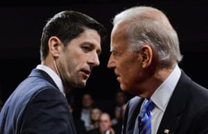 Candidate Paul Ryan and Vice-president Joe Biden conclude the vice presidential debate on 11 October 2012.