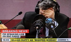 Gordon Brown faces the media after he was overheard calling Gilliand Duffy a 'bigoted woman'.