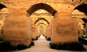 Massive arches in the horse stables of Meknes