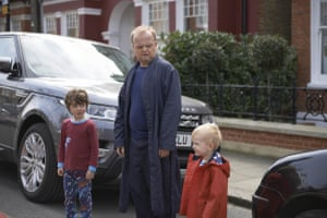 The horrors of toddler poo … Roger Young (Toby Jones) with his young sons in the adaptation of John Lanchester's Capital