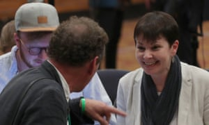 Caroline Lucas at the European election count in Southampton.