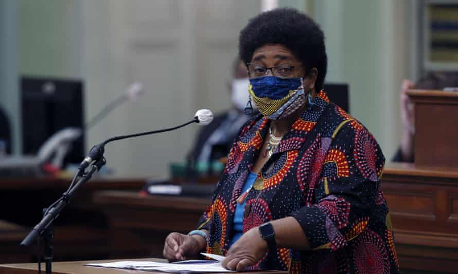 The California assemblywoman Shirley Weber calls on lawmakers to create a taskforce to study and develop reparations proposals for African Americans in June.