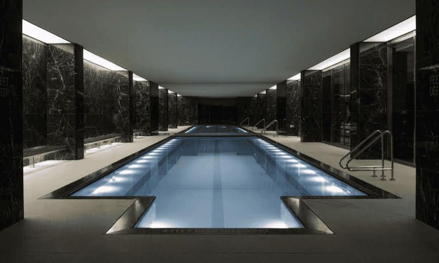 50 United Nations Plaza's black marble-lined swimming pool.