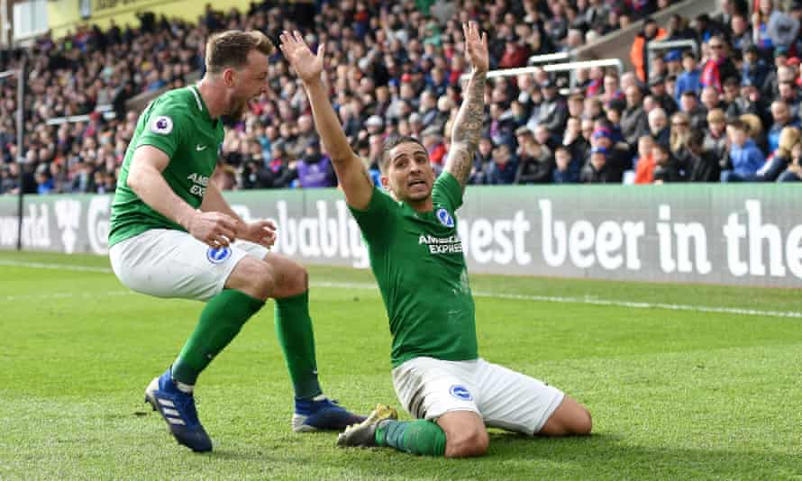 Dale Stephens races to congratulate Anthony Knockaert on scoring what proved Brighton's winner at Crystal Palace