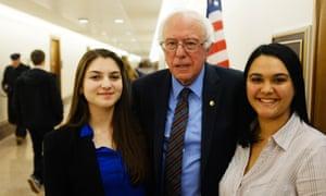 Parkland school newspaper staffers Rebecca Schneid and Dara Rosen with Bernie Sanders.