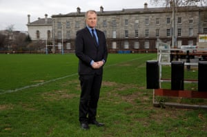 Hugo MacNeill, the former Ireland and Lions player, on the pitch at Trinity College, his old college, and where Dublin University Rugby Club, the oldest rugby club in the world to have played continuously, play some of their games.