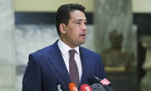 National Party leader Simon Bridges speaks to media during a press conference at Parliament on March 24, 2020 in Wellington, New Zealand.