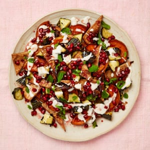 Meera Sodha's squash and courgette salad with pitta, pomegranate and tahini.