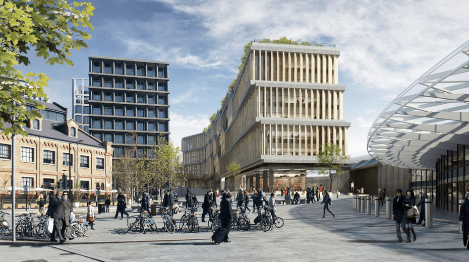 A computer-generate image of the vast Google headquarters now under construction in King's Cross.