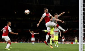 Arsenal's Olivier Giroud is unable to direct his header on target.