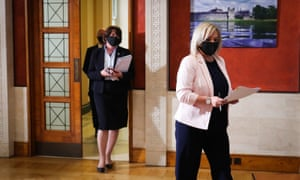 Northern Ireland first minister Arlene Foster (left) and deputy first minister Michelle O'Neill at Parliament Buildings, Stormont, in Belfast.