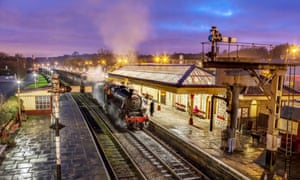Ramsbottom station with Santa Special steam train