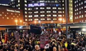 Crowds outside New Broadcasting House in central London protest against then BNP leader Nick Griffin's 2009 Question Time appearance.