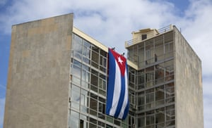 A Cuban flag hangs from the foreign ministry building in Havanaill observe nine days of mourning for the former president