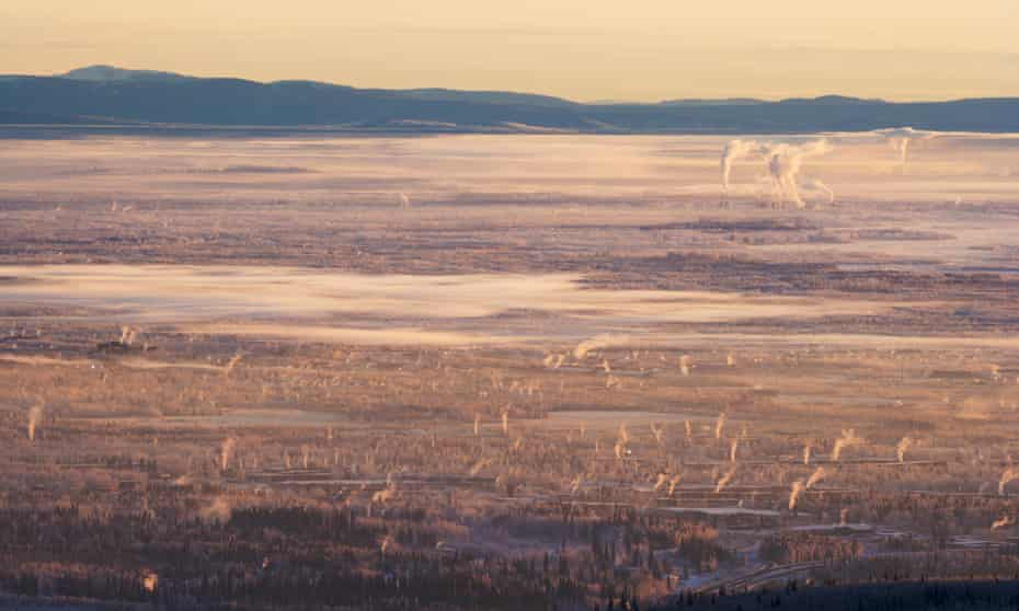 On cold days in Fairbanks, wood smoke and ice fog becomes trapped close to the ground.