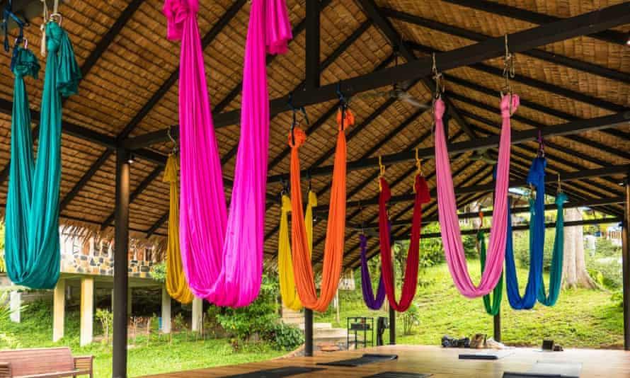 Colourful hammocks for aerial yoga, Wonderland Healing Centre, Koh Phangan