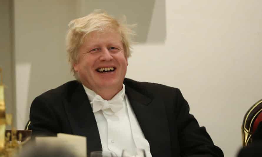 Boris Johnson at a banquet with diplomats at Mansion House, London.
