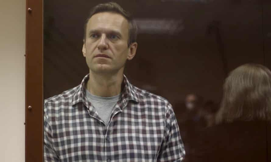 Alexei Navalny at a court hearing in Moscow last week