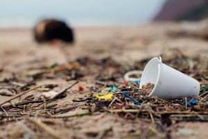 Discarded drinks cup on the beach