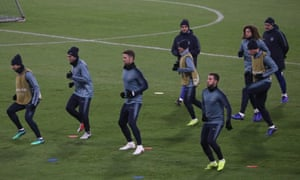 Chelsea training in Minsk prior to their game against Bate Borisov. Eden Hazard (foreground, right) is expected to feature for around 50 minutes.
