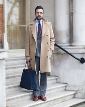 The way we wore: Dan Rookwood, US Editor for Mr Porter in January 2015. Now he says his wardrobe is 'like a museum'.