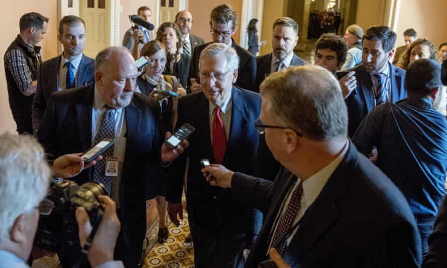 Mitch McConnell, the Senate majority leader, speaks to reporters as his party looks toward a vote on the proposed tax overhaul.