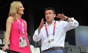 Gabby Logan and Sebastian Coe at the London 2012 Olympics