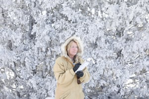 """Laurel Beager, editor of the International Falls Journal newspaper in International Falls, Minnesota. The city is often referred to as the """"Icebox of America."""" In January, the city experienced extreme temperatures of -36.4F (-38C). The windchill was -58F (-50C)."""