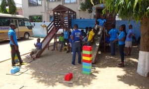 Children and staff at the Autism Awareness Care and Training centre in the Ghanaian capital Accra