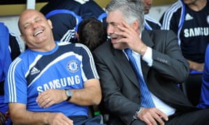 Ray Wilkins as Chelsea assistant manager, with the manager Carlo Ancelotti, at Craven Cottage before a match between Fulham and Chelsea in 2009.