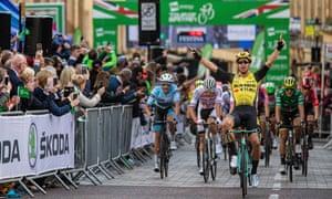 Dylan Groenewegen celebrates winning stage three of the 2019 Tour of Britain in Newcastle