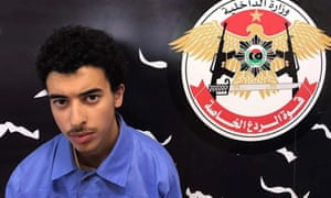 Hashem Abedi appears inside the Tripoli-based Special Deterrent anti-terrorism force unit after his detention in Tripoli.