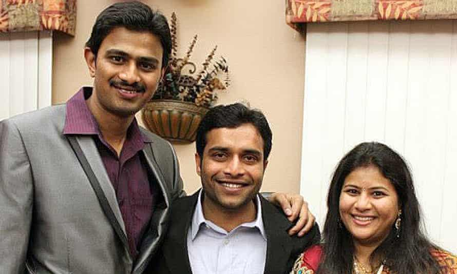 Srinivas Kuchibhotla, left, poses for photo with Alok Madasani and his wife Sunayana Dumala.