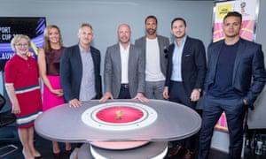 The BBC's World Cup media launch. From left: BBC Sport director Barbara Slater, Gabby Logan, Gary Lineker, Alan Shearer, Rio Ferdinand, Frank Lampard and Jermaine Jenas.