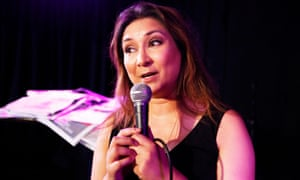 Former Labour party staffer Ayesha Hazarika, performing her Tales from the Pink Bus show at the Edinburgh Festival Fringe.