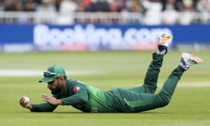 Pakistan's Mohammad Hafeez takes the catch to dismiss West Indies' Shai Hope.
