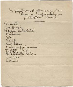 Robert Louis Stevenson's list of favourite books.