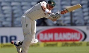 Australia's Matt Renshaw bats during the Test cricket match against India in Pune. Renshaw had to retire hurt with a stomach bug.